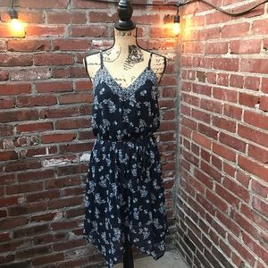 Navy Blue and White Flower Midi Dress